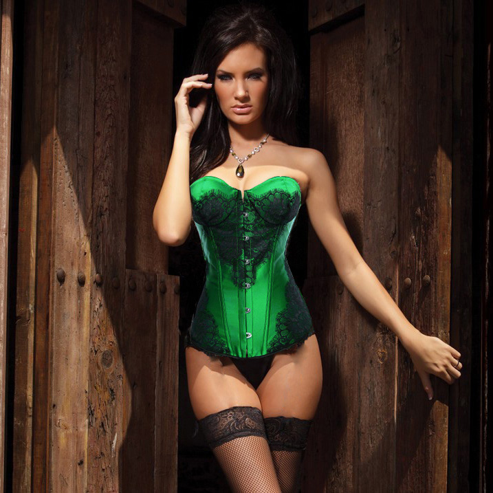 Classical Lace Overlay Corset Green N1141