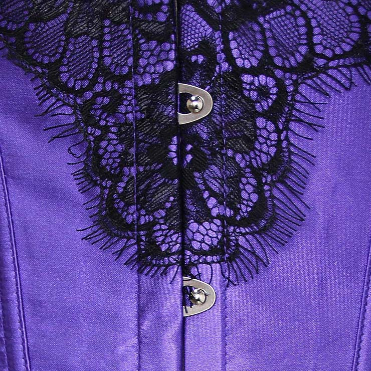 Purple Corset , Classical Corset, Lace Overlay Corset, Sexy Floral Lace Corset, Sexy Clubwear Bustier Corset, Sexy Chemise, #N1139