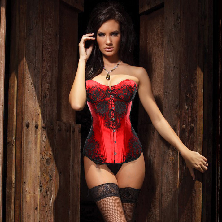 Classical Lace Overlay Corset Red N1143
