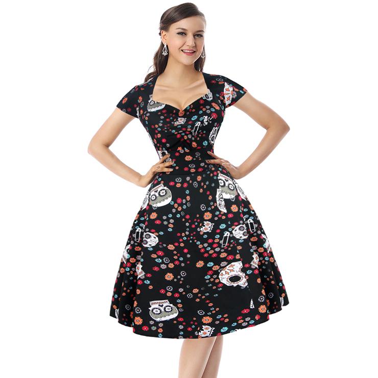 Classical Vintage Sweet Women Cap Sleeves Floral Skull Spot Print Swing Dress N14090