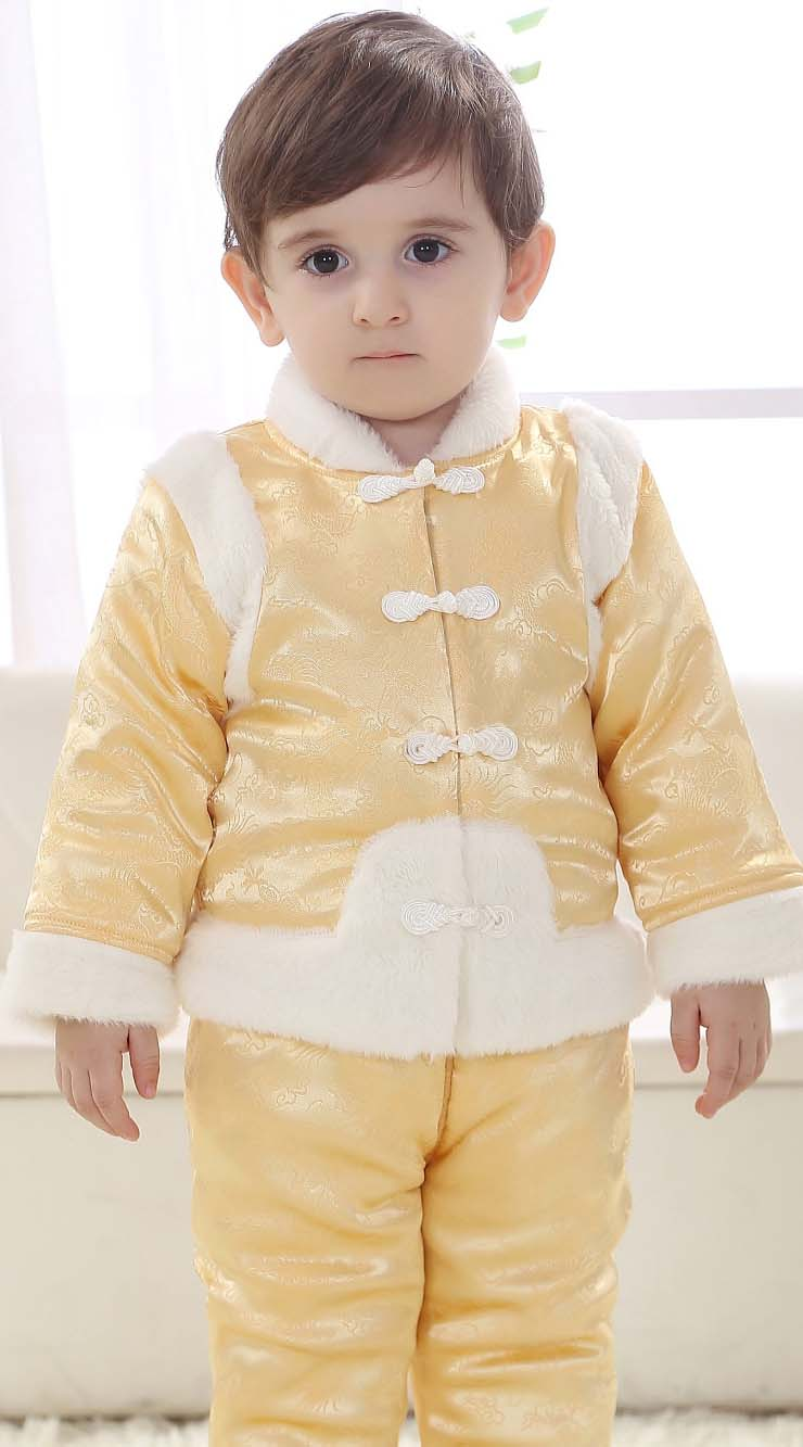 Classical Yellow Baby Outfit, Comfortable Brocade Baby Costume,Cheap Red Baby Tang Suit Costume,  #N9799
