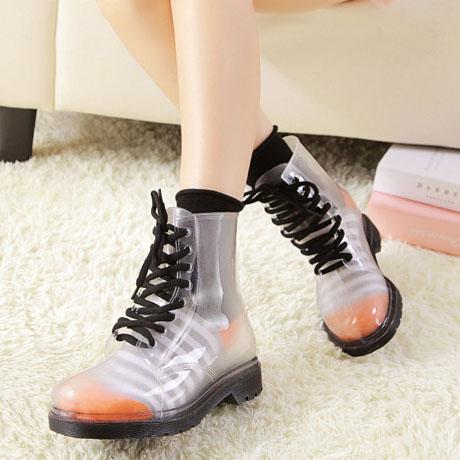 Clear Black Bottom Flat Heel Rain Boots SWB80044