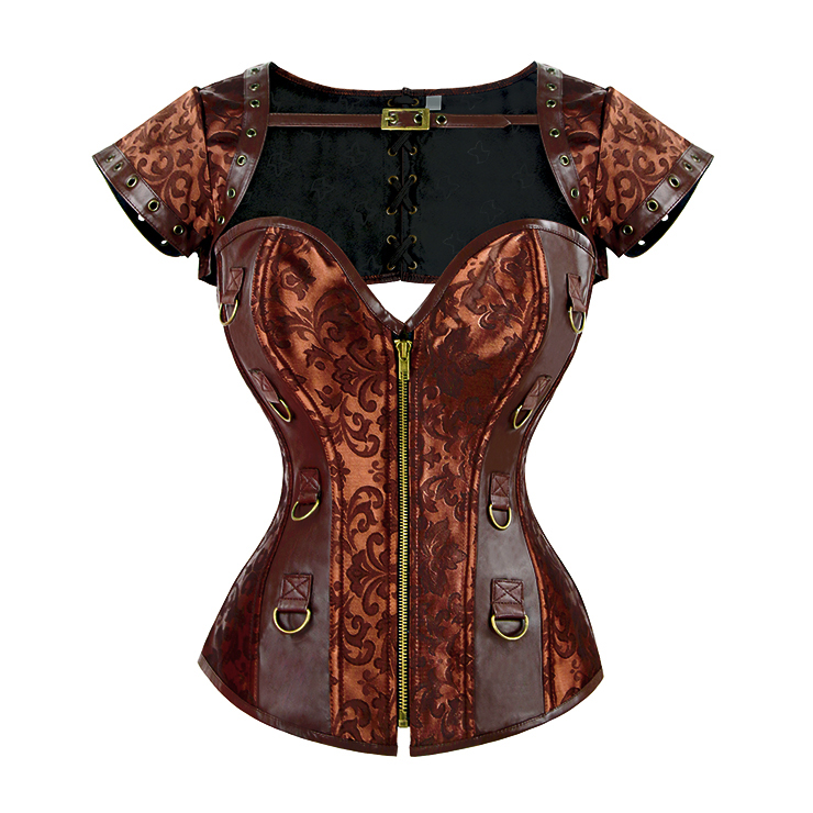 Women's Steampunk Brocade Faux Leather Steel Boned Shrug Overbust Corset N15392