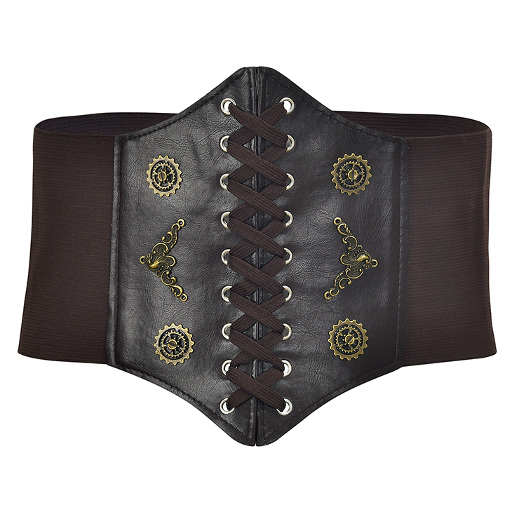 Steampunk Coffee Leather Bronze Metal Wheel Gear Front Lace Up High Waisted Cincher Corset Belt N18655