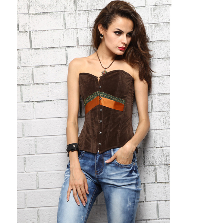 Fashion Brown Faux Suede Strapless Overbust Corset N2455
