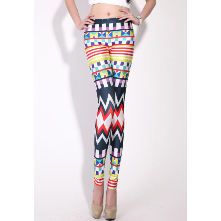 Geometric Printed Jeans, Colorful Dazzling Print Leggings, Color Graphic Geometric Jeggings, #L7765