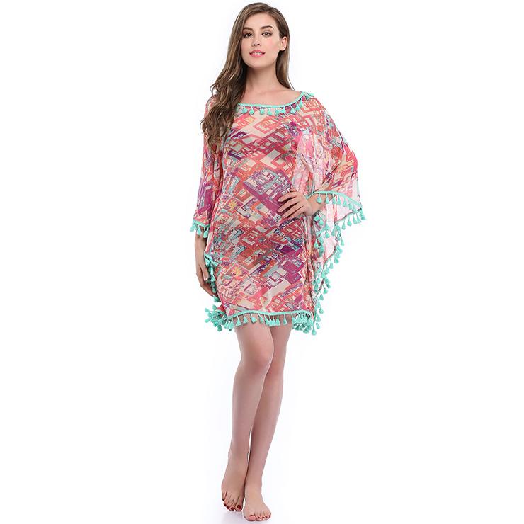 Charming Women's Colorblock See-through Mesh Tassel Chiffon Cover Up N14146