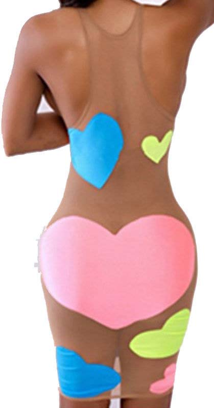 womens sexy colorful heart print sleeveless bandage party