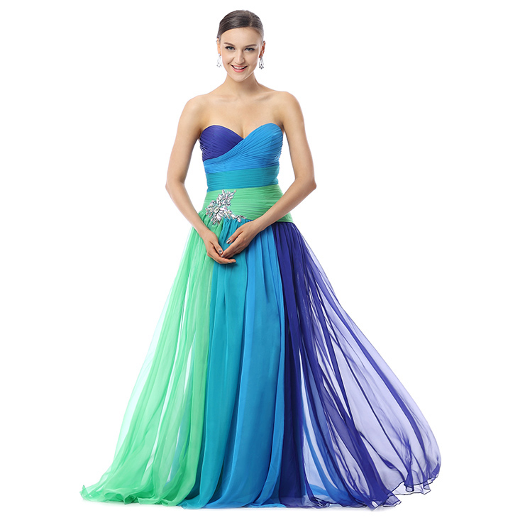 2017 Colorful A-line Sweetheart Ruffles Crystal Tencel Chiffon Floor-Length Prom Dresses F30017
