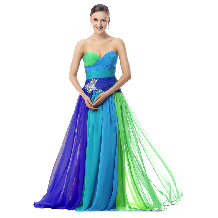 2018 Colorful A-line Sweetheart Ruffles Crystal Tencel Chiffon Floor-Length Prom Dresses F30017