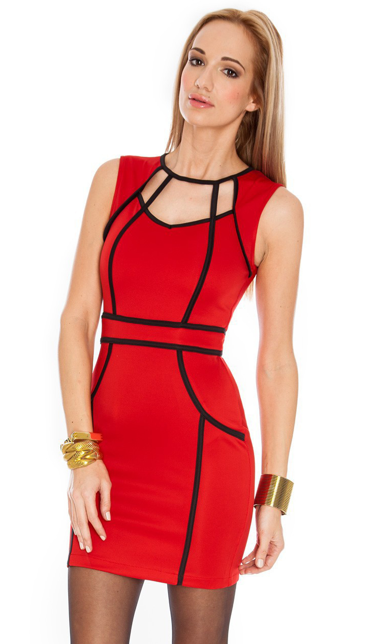 Sexy Red Amp Black Round Neckline Sleeveless Hollow Out