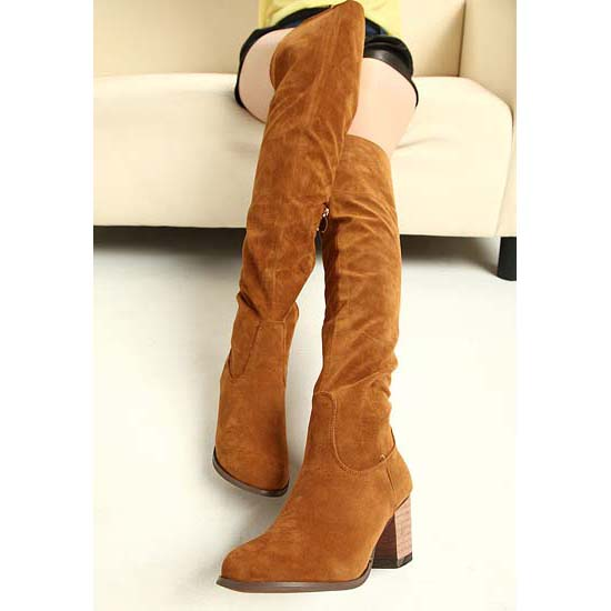 Courtlike Brown Suede Thigh-high Chunky Heels Boots SWB20383