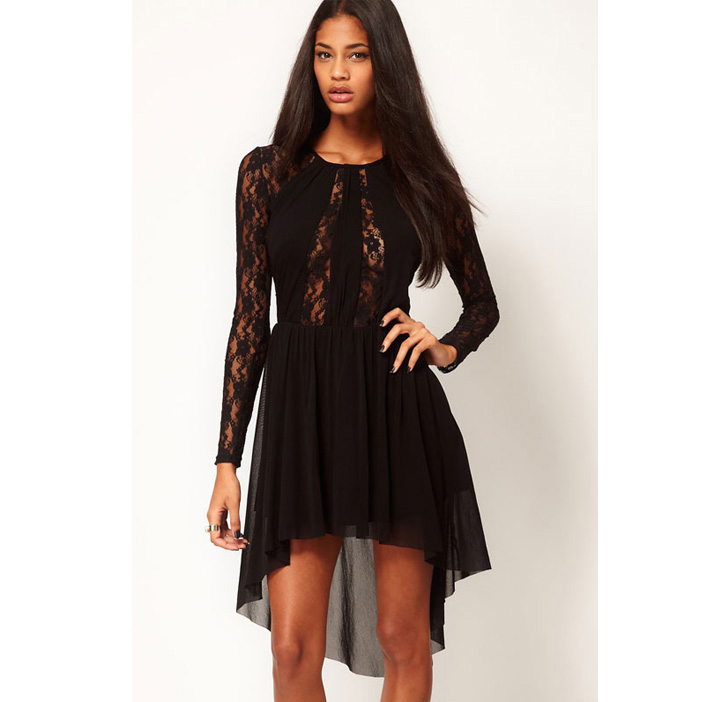 Crew Neck Sheer Lace Top Dress N5635