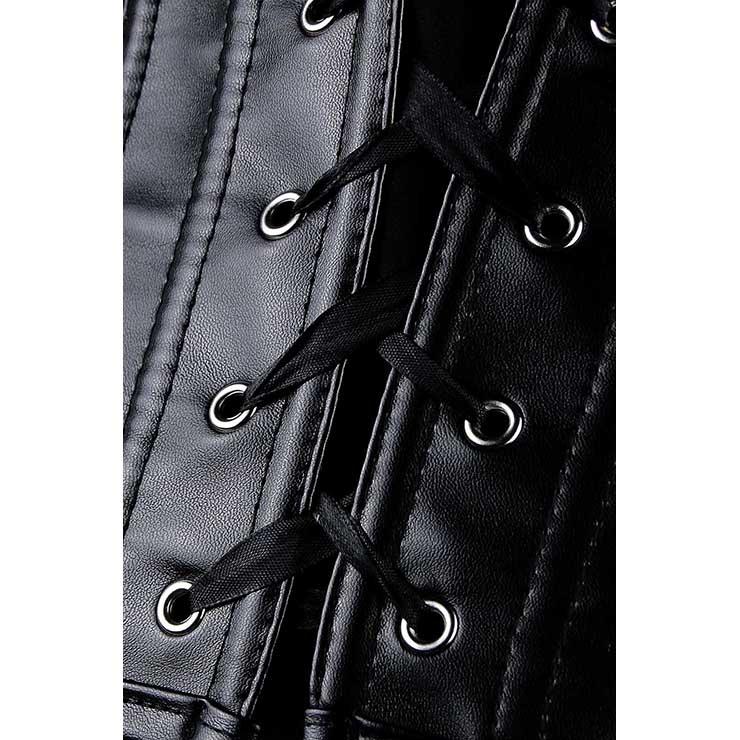 Criss Cross Corset, Black Cross Strap Corset, Exposed Front Leather Corset, #N7982