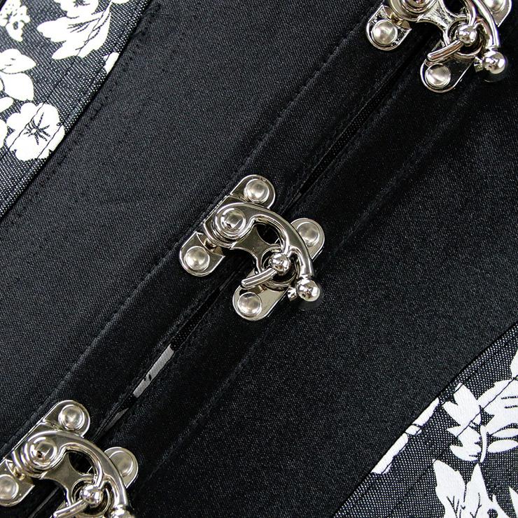 Cross Buckle Front Corset, Black Corset, Steampunk Corset, #N4909