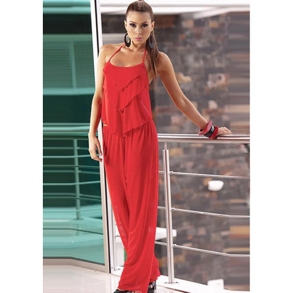 Beauty Chiffon Top and Pants Red M1680