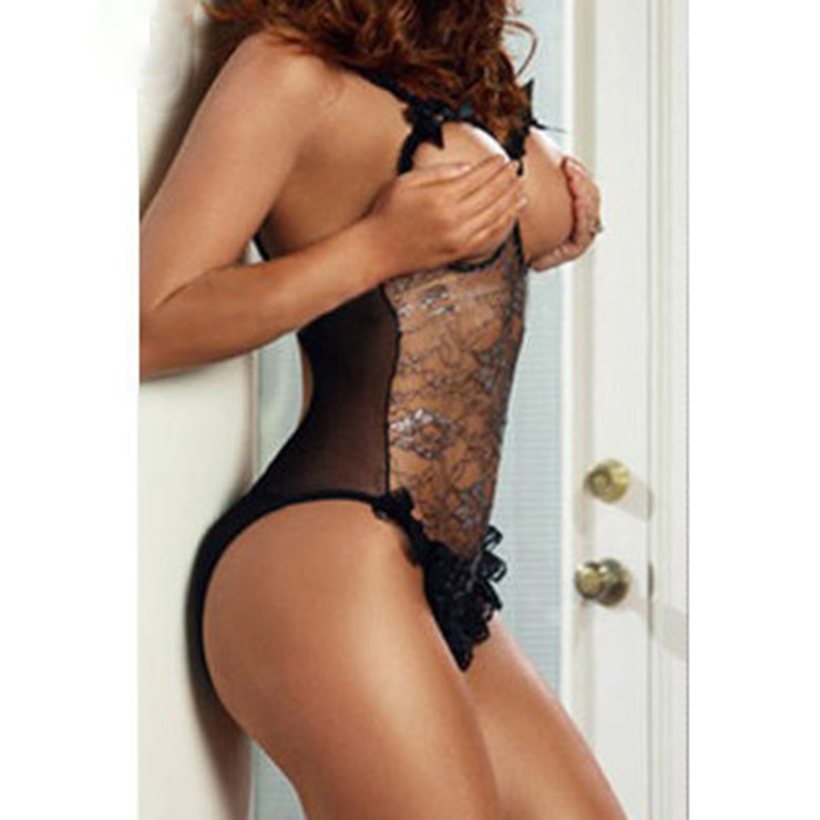 Sexy Black Lace Mesh Cupless Crotchless Bodysuit One-piece Lingerie Set N17025