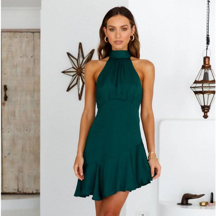 Sexy Dark-green Halter Neck Lace Up Sleeveless Cutaway Shoulders High Waist Ruffle Dress N21105