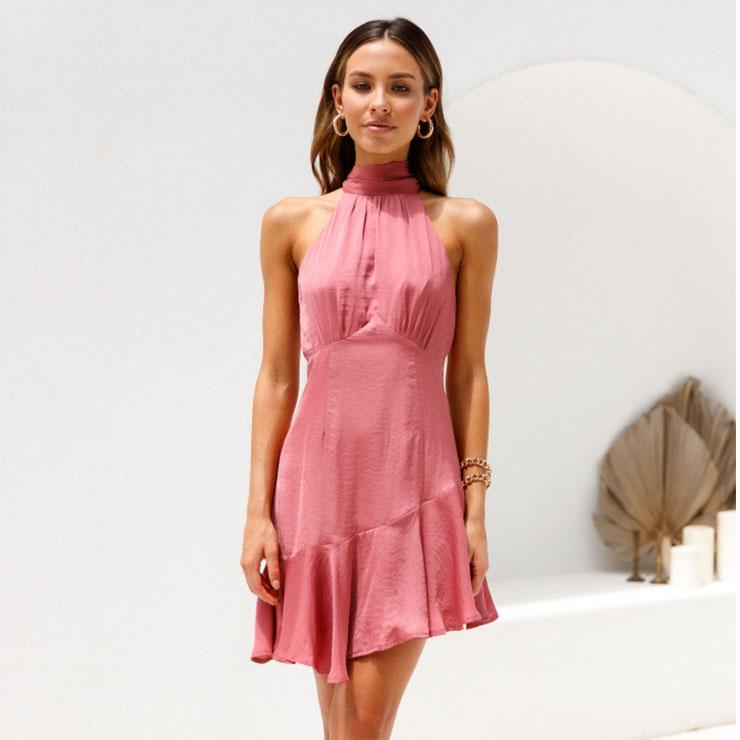 Sexy Pink Halter Neck Lace Up Sleeveless Cutaway Shoulders High Waist Ruffle Dress N21106