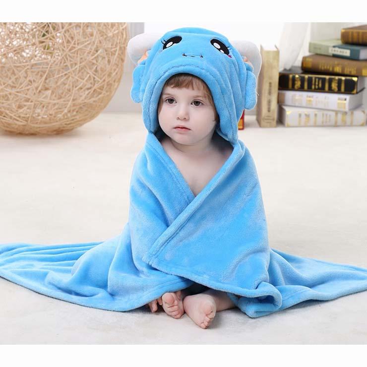 Cute Blue Flannel Capricorn Baby Hoodie Blanket N10387