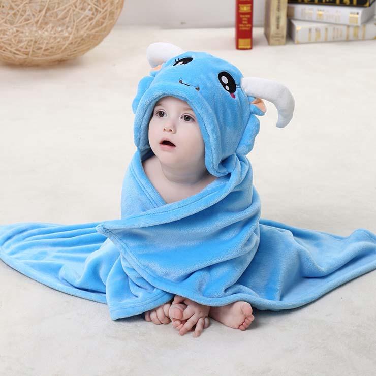 cute blue flannel capricorn baby hoodie blanket n10387. Black Bedroom Furniture Sets. Home Design Ideas