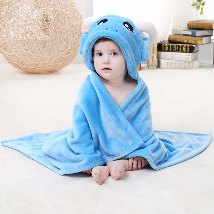 Baby Flannel Hoodie Blanket, Baby Blanket Toddlers Flannel Hoodie Cloak, Lovely Blue Capricorn Baby Blanket, Cheap Soft Flannel Blanket, #N10387