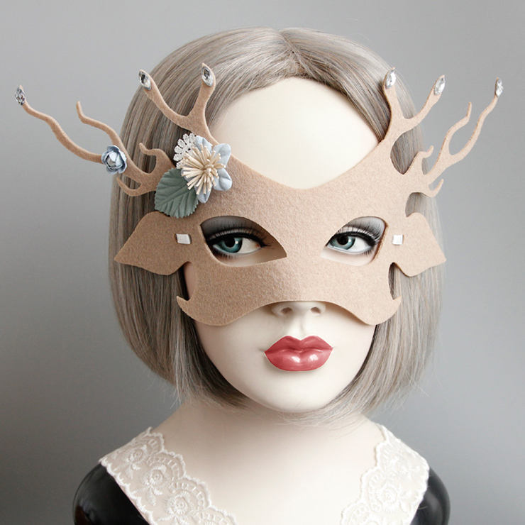 Princess Elk Masquerade Party Animal Half Mask Ms12991