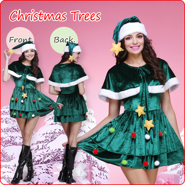 cute green christmas tree dress costume xt9729