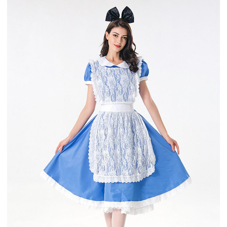 Cute House Maid Dress with Lace Apron Adult Halloween Cosplay Costume N17995