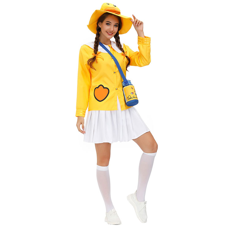 Tops and Mini Skirt Set, Classic Little Yellow Duck Costume, Adult Cosplay Costume, Sexy White Skirt Set Costume, Sexy Halloween Cosplay, Adult Little Yellow Duck Role Play Costume, Little Yellow Duck Top and Skirt Set, #N20803