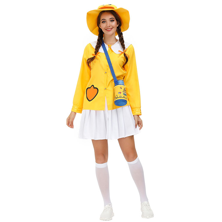 5Pcs Women's Cute Little Yellow Duck Long Sleeve Tops Skirt Suit Adult Cosplay Costume N20803