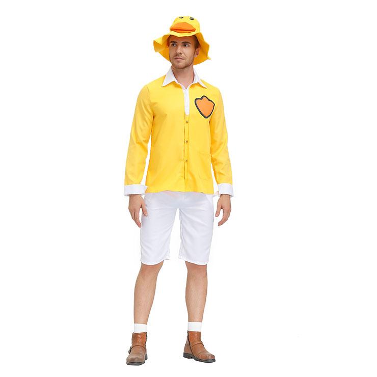 3Pcs Men's Cute Little Yellow Duck Long Sleeve Tops Pants Suit Adult Cosplay Costume N20804