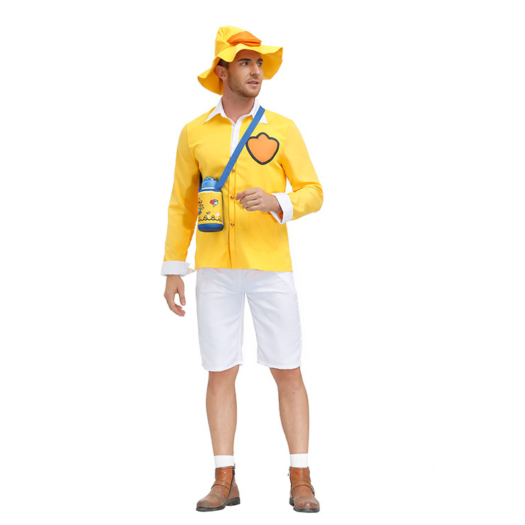 Tops and Short Pants Set, Classic Little Yellow Duck Costume, Adult Cosplay Costume, Sexy White Pants Set Costume, Sexy Halloween Cosplay, Adult Little Yellow Duck Role Play Costume, Little Yellow Duck Top and Pants Set, #N20804