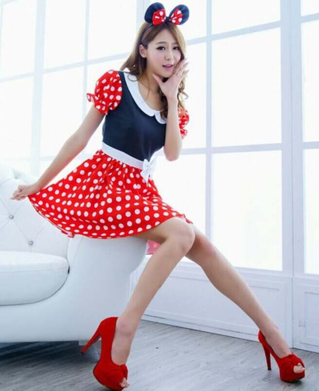 Women Sexy Milk Maid Minnie Mouse Costume Halloween Outfit Cute Cheap Mickey Mouse Fancy  sc 1 st  MallTop1.com & Cute Mickey Mouse Fancy Dress Costume N9650