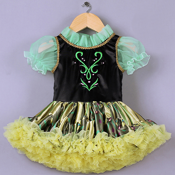 High Quality Green Mesh Lace Black Satin Short Sleeves Yellow Organza Princess Dress N9581