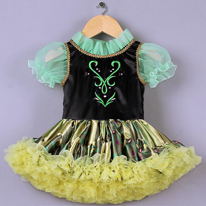 High Quality Green Mesh Lace Black Satin Short Sleeves Yellow Organza Princess Dress N9581