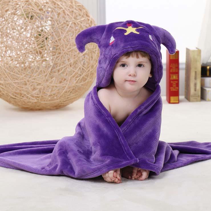 Baby Flannel Hoodie Blanket, Baby Blanket Toddlers Flannel Hoodie Cloak, Lovely Purple Libra Baby Blanket, Cheap Soft Flannel Blanket, #N10384