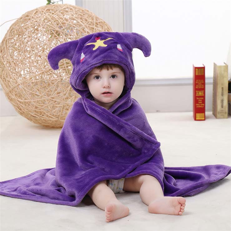 Cute Purple Flannel Libra Baby Hoodie Blanket N10384