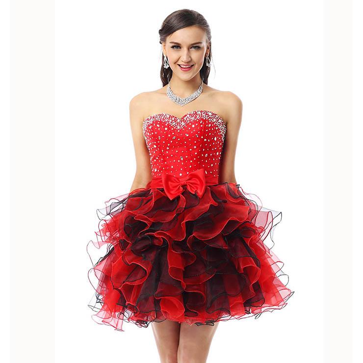 8cdcfd5ba12 2018 Cute Red Sweetheart Mini-Length Empire Beading Ruffles Sweet 16 Dresses  Y30042