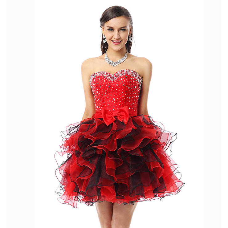 2018 Cute Red Sweetheart Mini-Length Empire Beading Ruffles Sweet 16 Dresses Y30042