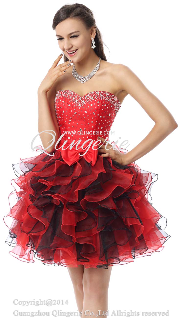 2018 Cute Red Sweetheart Mini-Length Empire Beading