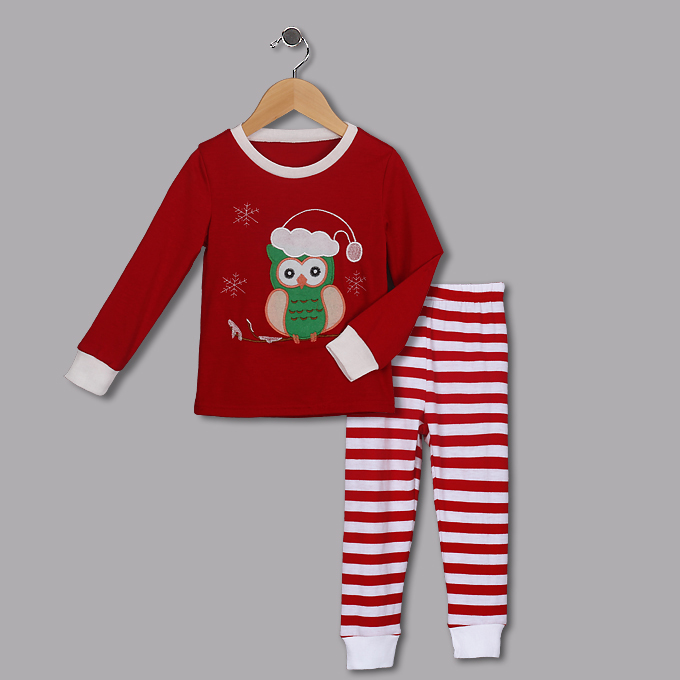 Cute Red Round Neck Owl Print Kid Christmas Suit N9815