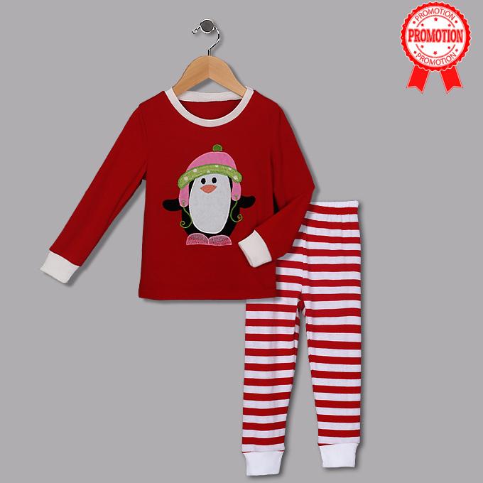 Cute Red Round Neck Penguin Print Kid Christmas Suit N9814