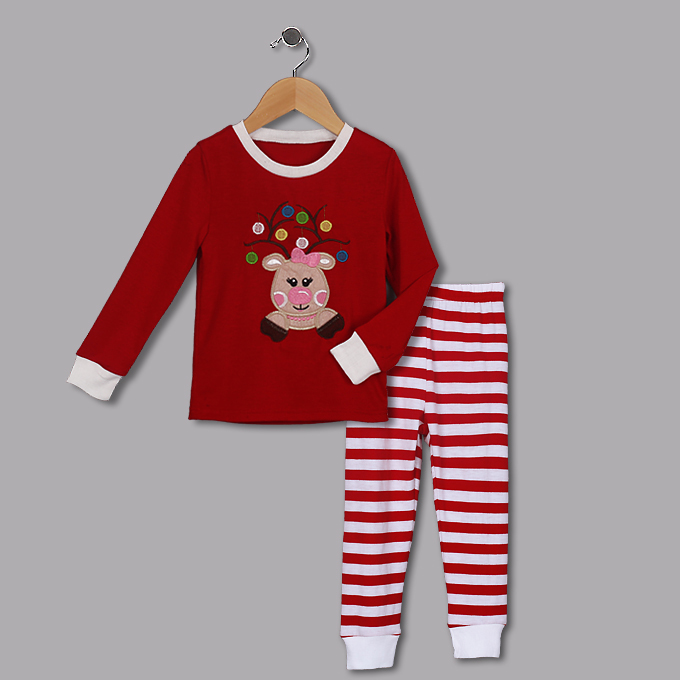 Cute Red Round Neck Reindeer Print Girl Christmas Suit N9811