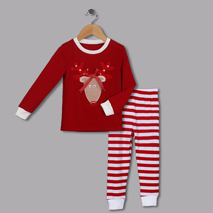 Cute Red Round Neck Sika Deer Print Kid Christmas Suit N9812