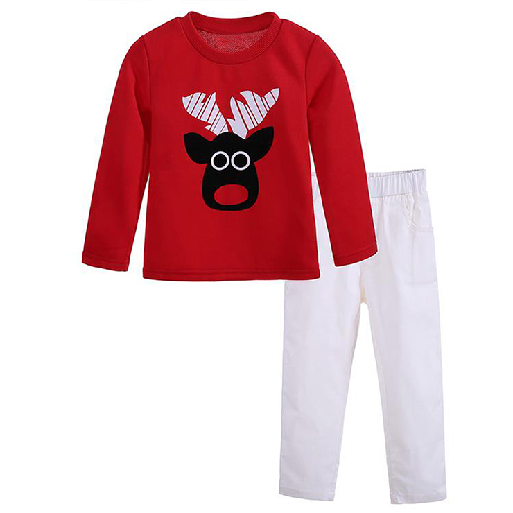 Cute Red Round Neck Cow Print Kid Christmas Suit N9817