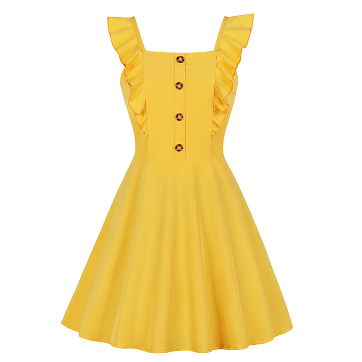 Fashion Ruffle Wide Straps Front Button High-waisted Summer Swing Dress N19083