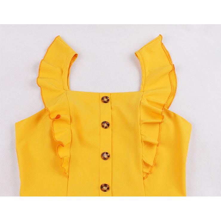 Cute Ruffle Summer Swing Dress, Retro Dresses for Women 1960, Vintage Dresses 1950