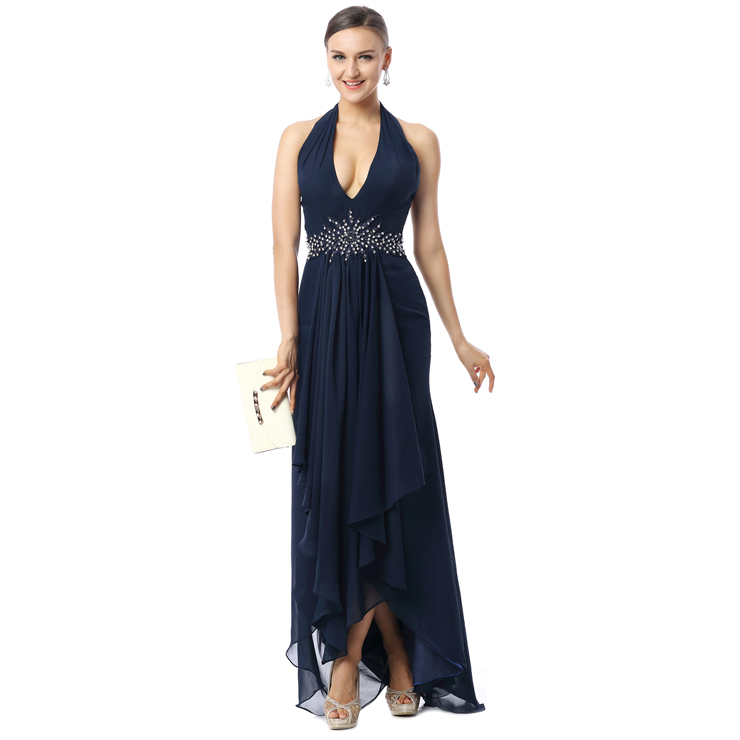 2017 Sexy Dark-Blue A-line Halter Asymmetrical Drape Crystal Long Evening Dresses F30009
