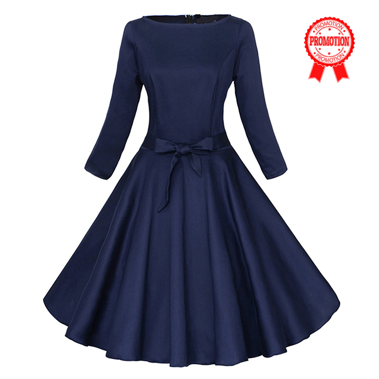 Classic 1950's Vintage Dark Blue Long Sleeves Casual Cocktail Party Dress N11638